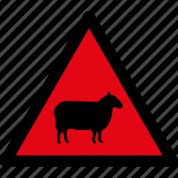 animals, attention, caution, danger, hazard, sheep, warning icon