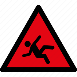 attention, caution, danger, fall, hazard, slippery, warning icon