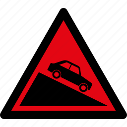 car, caution, danger, descent, road, steep, warning icon