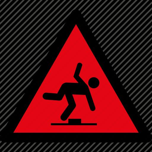 attention, caution, danger, hazard, safety, stumbling, warning icon