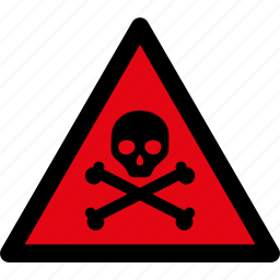 attention, caution, danger, hazard, skull, toxic, warning icon