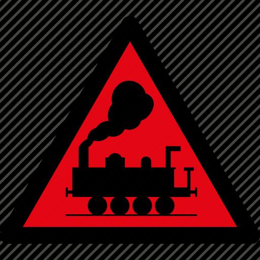 attention, danger, rail road, railroad, rails, train, warning icon