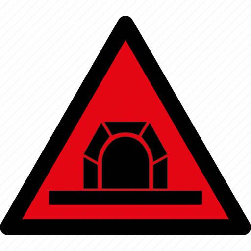 attention, caution, danger, entrance, hazard, tunnel, warning icon