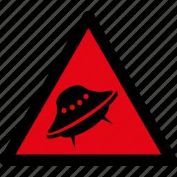 attention, danger, hazard, spaceship, ufo, visitors, warning icon