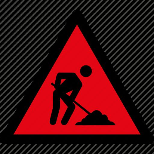 attention, caution, construction, danger, hazard, under, warning icon