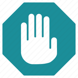 alert, caution, danger, exclamation, stop hand, terminate, warning icon