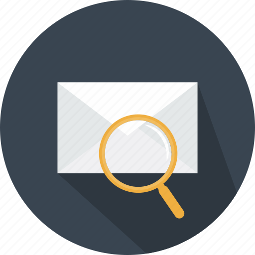 email, envelope, glass, interface, magnifying, message, searching icon