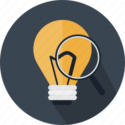 bulb, detective, glass, idea, light, magnifying, search icon