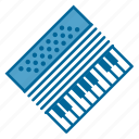 accordion, band, instrument, keyboard, music, play, song icon