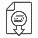 cash, dash, document, down, download, out icon