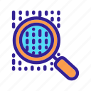 analysis, binary, business, finance, magnifier icon