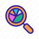 analysis, business, chart, finance, magnifier icon
