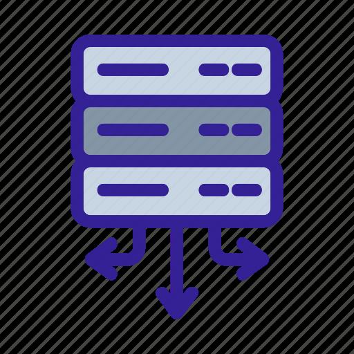 analytics, arrows, center, data, network icon