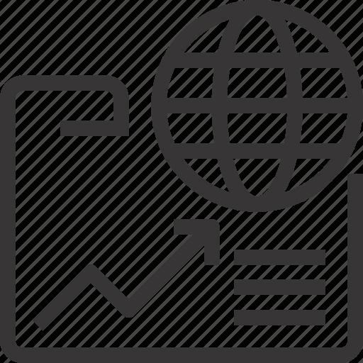 analysis, analytics, business, document, folder, global icon