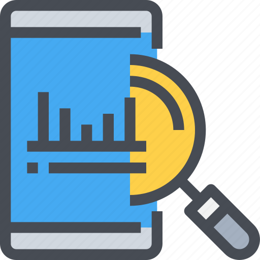 analytics, data, mobile, search, smartphone icon