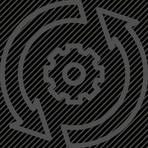 analytics, arrow, big, data, gear, process, update icon