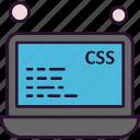 analysis, data, laptop, css, file icon