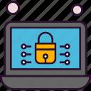 analysis, data, laptop, lock