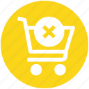 cart, cross, cross sign, shopping, shopping cart, sign icon