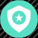 favorite, police badge, secure, security, shield, star