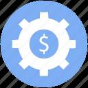 cog, cogwheel, dollar, gear, gearwheel, preferences