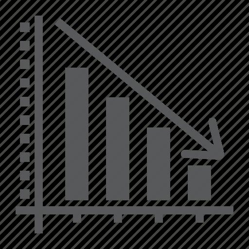analytic, arrow, chart, decrease, down, histogram, reduction icon