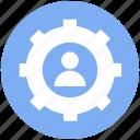 cog, gear, man, options, setting, user