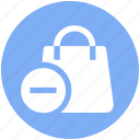 bag, gift bag, hand bag, minus, money bag, shopping bag icon