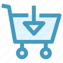arrow, cart, down, download, move, shopping icon
