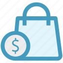 bag, dollar, hand bag, shopping, shopping bag icon