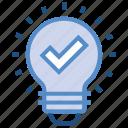 bulb, check, creative, data analytics, idea, light, tick icon