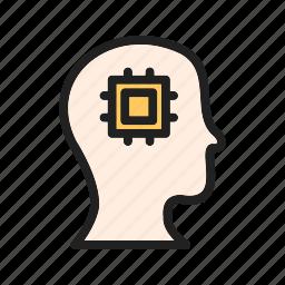 figures, intelligence, machine, network, perception, system, technology icon