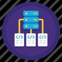 architecture, connection, data, database, hosting, lan, server