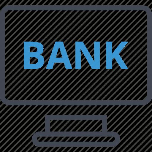 bank, computer, screen icon
