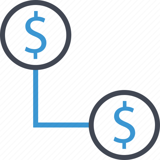 business, connect, dollar, sign icon