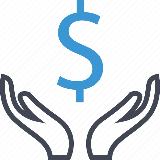 business, dollar, hands, sign icon