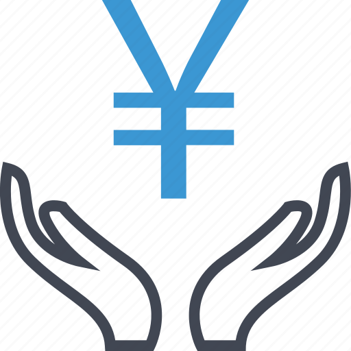 business, hand, hands, yen icon