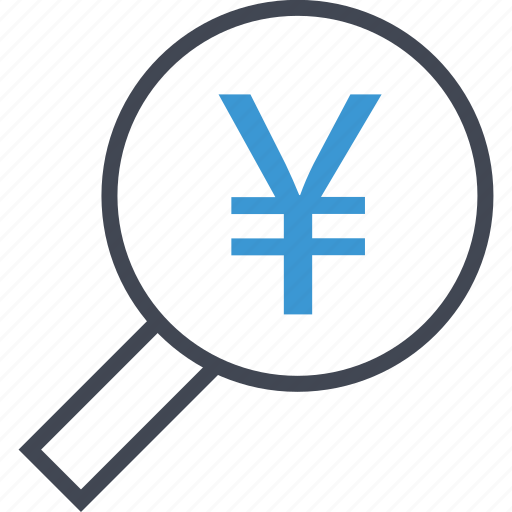 business, magnifying, yen icon