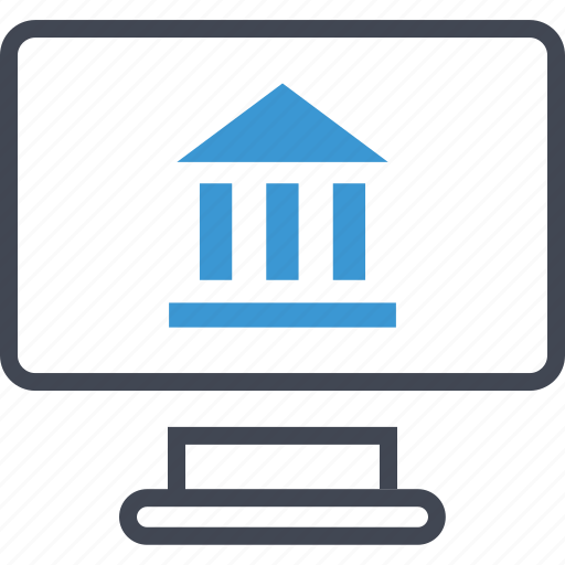 bank, banking, computer, screen icon
