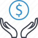 dollar, hands, money, sign icon