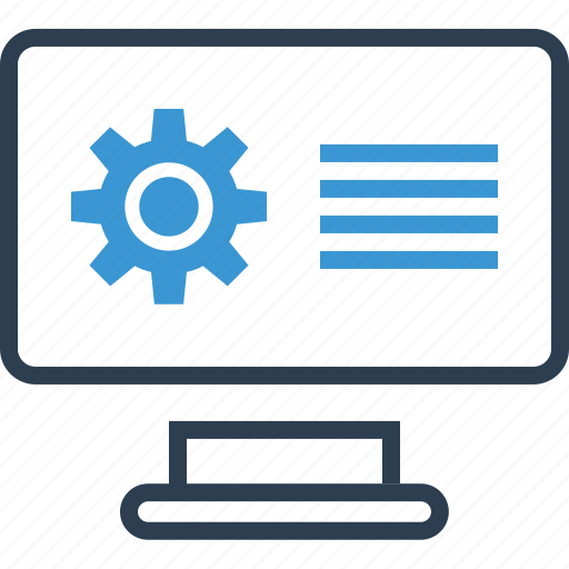 computer, gear, options icon