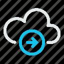 arrow, data, database, internet, network, right, storage