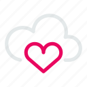 cloud, database, heart, internet, love, network, storage
