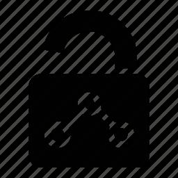 data, privacy, private, unlocked icon