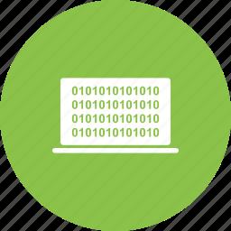 binary, code, computer, data, digital, number, screen icon
