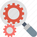optimization, search, find, gears, internet, magnifier, seo