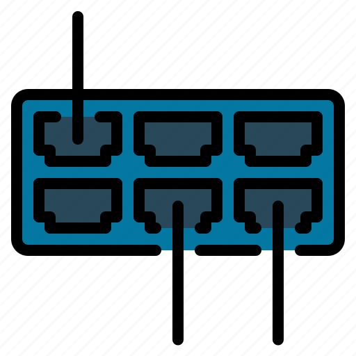 computer, device, ethernet, hub, internet, network, port icon