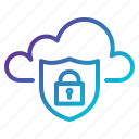 cloud, lock, network, protection, security, shield icon