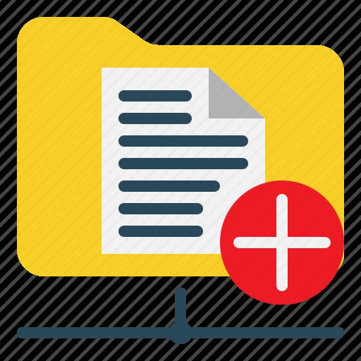add, directory, document, folder, network icon