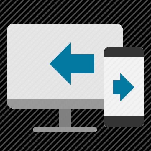 computer, data, smartphone, transfer icon